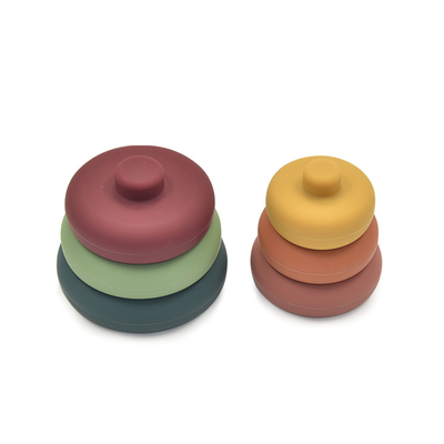 Round 80mm Baby Stacking Toy 100% Food Grade Silicone Teethers
