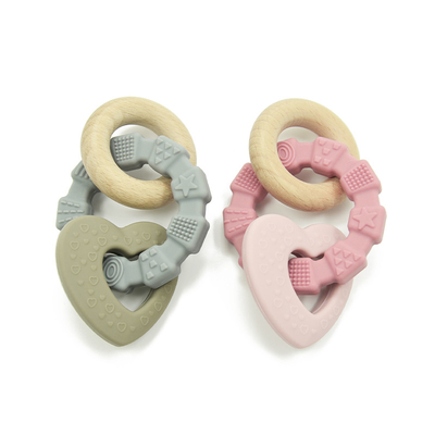 Natural Recyclable CPC Silicone Wood Teether Eco Friendly Baby Chew Toys