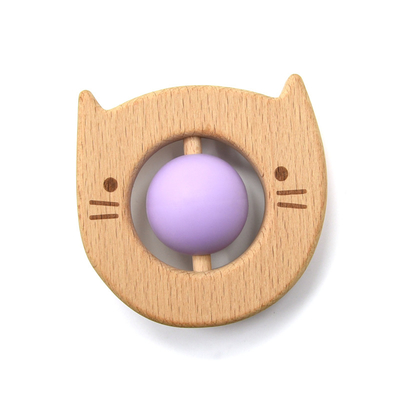 Portable 8cm Wooden Silicone Teether Rattle Rotation Ball Kitty Shape