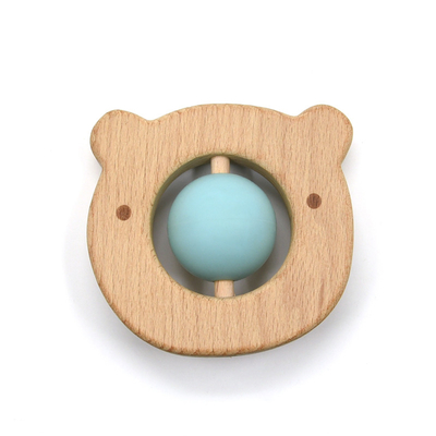 Non Toxic Bear Shaped Movable Ball Silicone Teether Safe For Baby