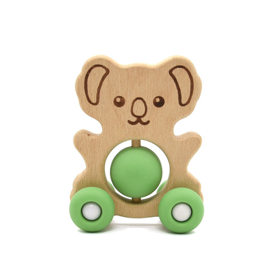 Educational Organic Beech pantone Color Baby Rattle Set Animal Shape
