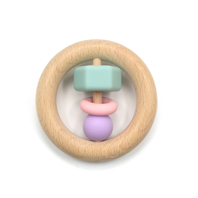 Sensory Organic Beech Wooden Silicone Teether Non Toxic Mutlti Color